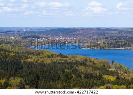 view over Silkeborg Lake from the highest point of Denmark