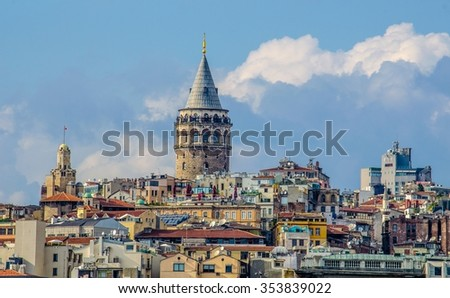 View over skyline of istanbul - beyoglu district - dominated by the famous galata tower. - stock photo