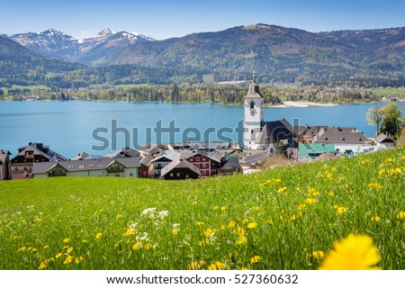 View over St. Wolfgang with Wolfgangsee lake, Salzkammergut, Austria