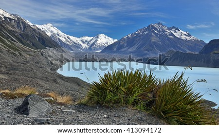 View over Tasman Lake with Tasman glacier, New Zealand - stock photo
