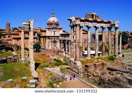 View over the ancient ruins of the Roman Forum, Rome, Italy - stock photo