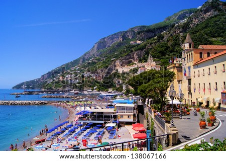 View over the beaches of Amalfi, Italy - stock photo