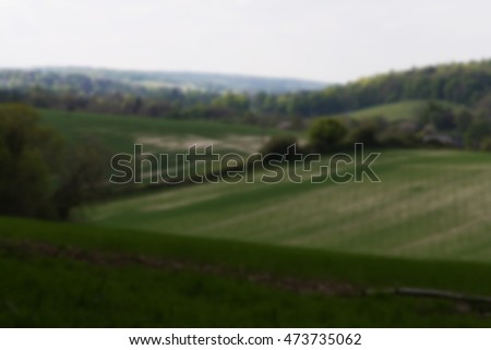 View over the Chilterns landscape in England Out of focus.