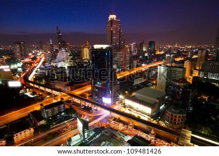View over the city of Bangkok at twilight - stock photo