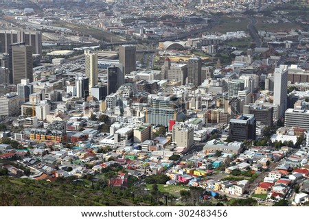 View over the city of Cape Town, South Africa, from Signal Hill. - stock photo