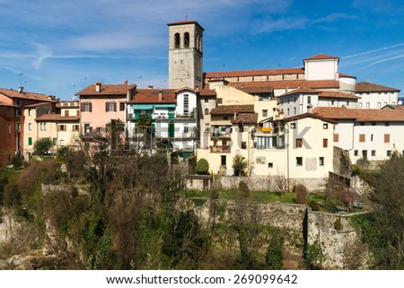 View over the city of Cividale del Friuli in Northern Italy - stock photo