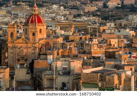 View over the city of Victoria (Rabat) at Gozo, the neighboring island of Malta - stock photo