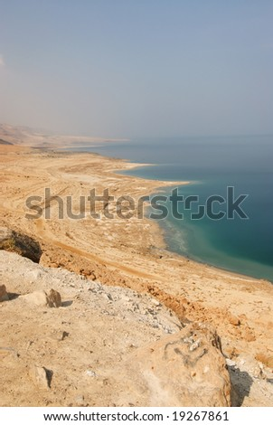 View over The Dead Sea, with Jordan in the background.