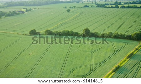 view over the early summer green fields from the air; East Anglia; UK; England; - stock photo