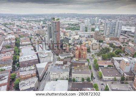 View over the high rise buildings of Vancouver city, British Columbia, Canada - stock photo