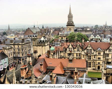 View over the historic buildings of the city of Oxford, England - stock photo