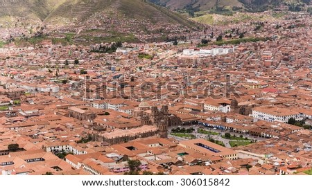 view over the houses of cusco in peru