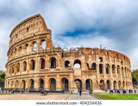 View over the iconic Flavian Amphitheatre, aka Colosseum in Rome, Italy - stock photo
