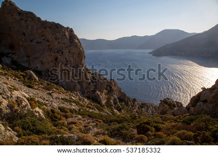 View over the Mediterranean from a mountain on Telendos island, Greece.