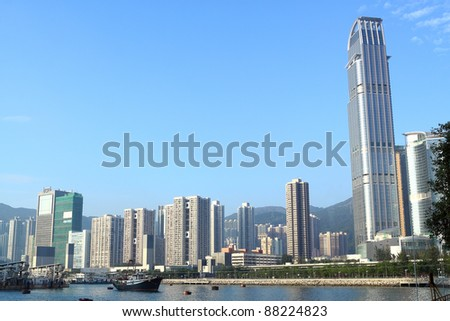 view over the modern city - stock photo