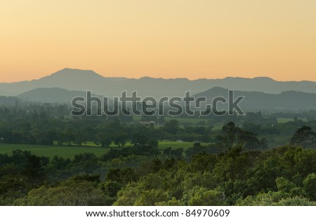 View over the Napa Valley at dusk - stock photo