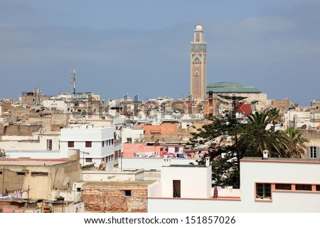 View over the old city of Casablanca, Morocco - stock photo