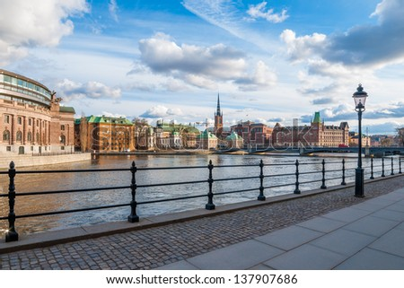 View over The Old Town (Gamla Stan) in Stockholm, Sweden - stock photo