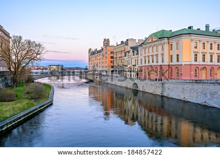 View over the old town (Gamla Stan) in Stockholm, Sweden at dawn - stock photo