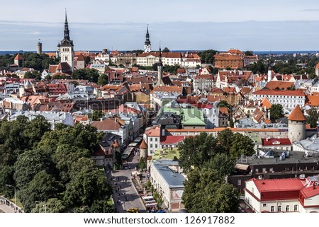 View over the Old Town of Tallinn, capital of Estonia - stock photo