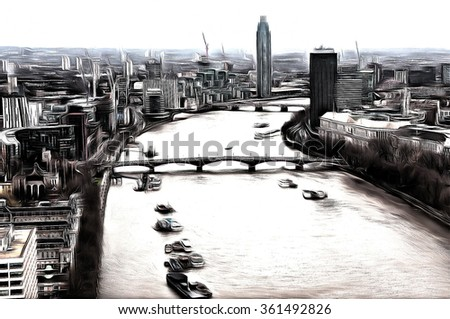 View over the River Thames, London, England  drawing filter - stock photo