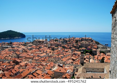 View over the roofs of Dubrovnik's old city