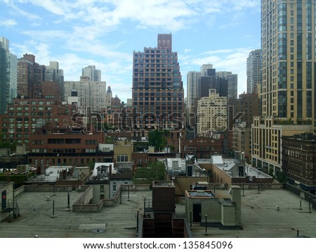 View over the roofs of East Midtown Manhattan in New York, NY, USA. - stock photo