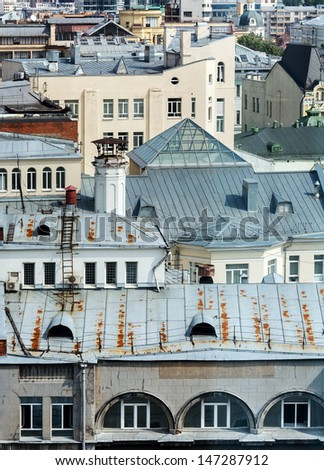View over the roofs of houses in the old center of the city of Moscow - stock photo