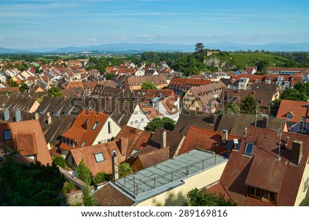 View over the rooftops and the landscape of Breisach on the Upper Rhine