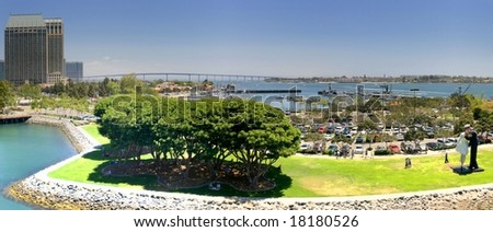 View over the San Diego harbor. - stock photo