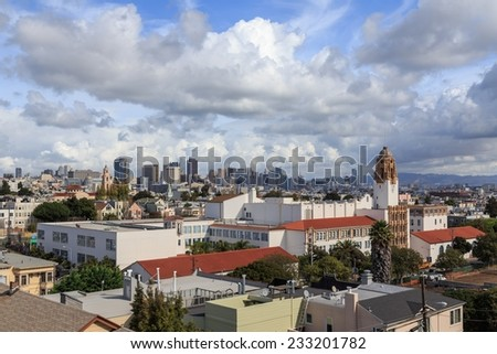 View over the San Francisco cityscape from near Dolores park in San Francisco, CA, USA. - stock photo