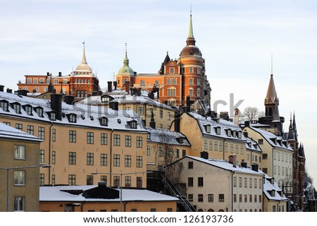 View over the Sodermalm heights in Stockholm - stock photo