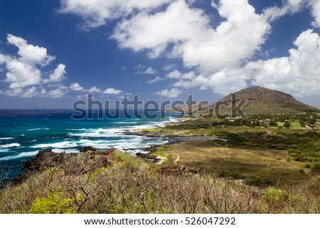 View over the south coast of Oahu, Hawaii, USA, towards Koko Crater.