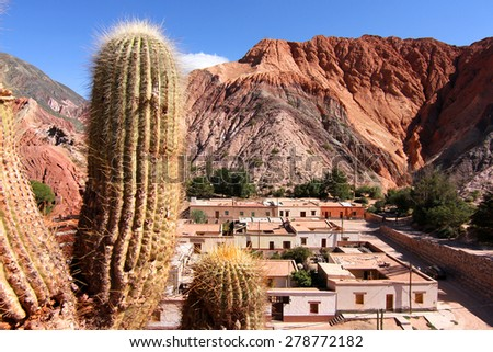 View over the town of Purmamarca in the province of Jujuy, Argentina, South America.  - stock photo