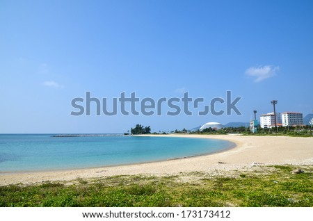 View over the tropical bay at Nago Beach at Okinawa in Japan - stock photo