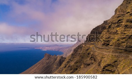 view over the west coast of Gran Canaria - stock photo