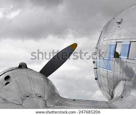 view over the wing of a historic airplane - stock photo