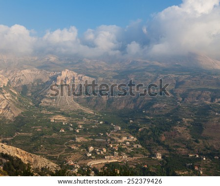 View over town of Bsharri in Qadisha valley, Lebanon