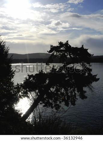 View over Trincomalee channel, Gulf Islands, British Columbia, Canada - stock photo