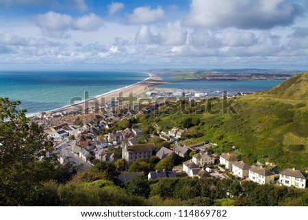 View over Weymouth, Portland and Chesil beach Dorset England - stock photo