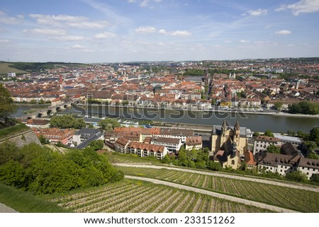 View over Wurzburg, Germany and the Main river, from the Marienburg Castle - stock photo