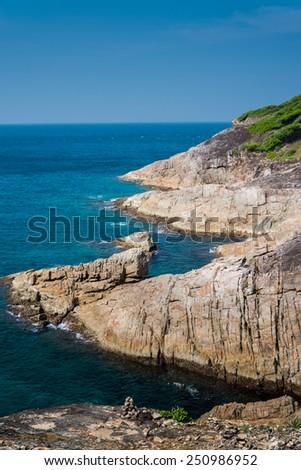 View point at Tachai island, Paradise seascape, Phang nga, Thailand. - stock photo