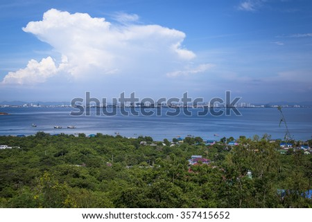 View Point on Koh larn look Blue sky and Beautiful gulf and city landscape of Pattaya, Thailand - stock photo