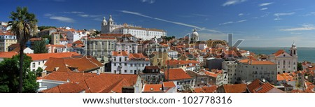View point Santa Luzia over Alfama (old city district of Lisbon) - stock photo