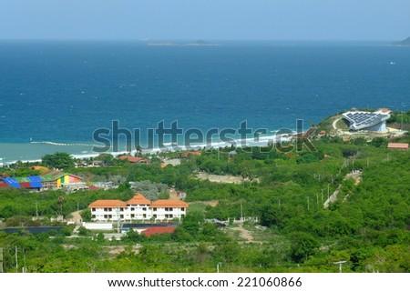 View point to Koh Lan (island),Pattaya beach,Thailand. - stock photo