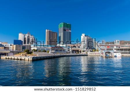 View Port of Kobe in Japan. - stock photo