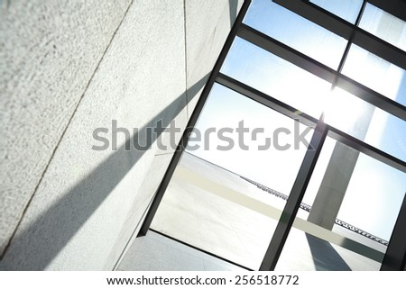 View rectangular perspectiv in windows out of the windows at sunlight - stock photo