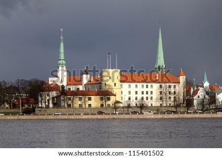 View Riga Castle from the River Daugava - stock photo