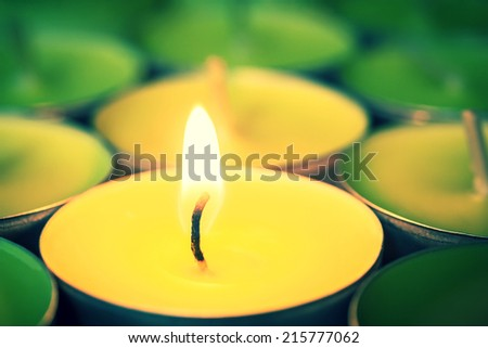 view the flame burning candles - stock photo