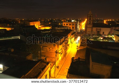 View the streets of the old city at night Cuban - stock photo